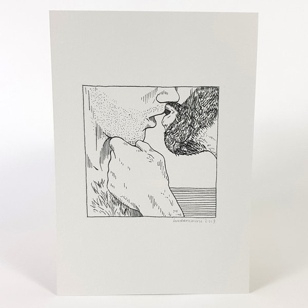 Erotische Risoprint Kiss new grey